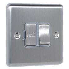 Satin Stainless Steel & Grey 13A Fused Spur Connection Unit