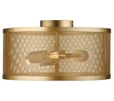 Fishnet Matt Gold 3 Light Cage Flush Ceiling Fitting