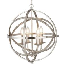 Vintage 4 Light Metal Cage Pendant SS