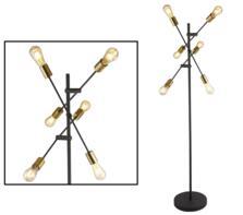 Black & Satin Brass 6 Light Floor Lamp
