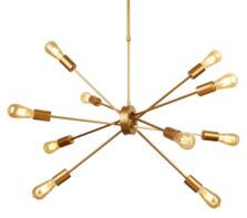 Matt Gold 10 Light Ceiling Pendant