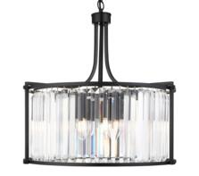 Matt Black 5 Light Drum Pendant Light