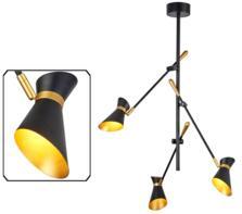 Matt Black & Gold 3 Light LED Ceiling Light