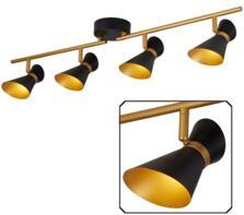 Matt Black & Gold 4 Light Split-Bar LED Spotlight