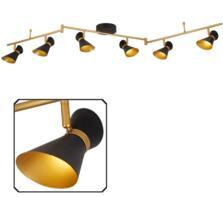 Matt Black & Gold 6 Light Split-Bar LED Spotlight