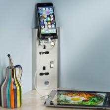Corner Mountable 13A Kitchen Double Socket & USB - SKR001A