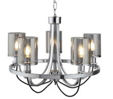 Chrome/Smoked Glass 5 Light Ceiling Fitting
