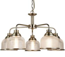 Antique Brass 5 Light Ceiling Light With Halophane Glass