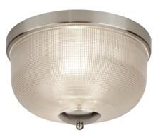 Satin Silver 2 Light Flush Ceiling Light