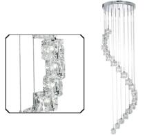 Polished Chrome Sculptured Ice 20 Light LED Pendant