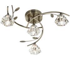 Antique Brass 4 Light Semi-Flush Ceiling Light