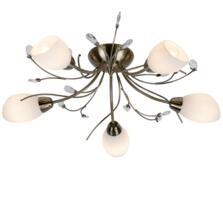 Antique Brass 5 Light Semi-Flush Ceiling Light