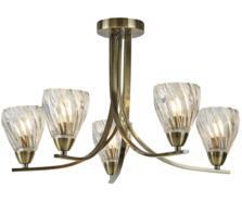 Antique Brass 5 Light Semi Flush Ceiling Light