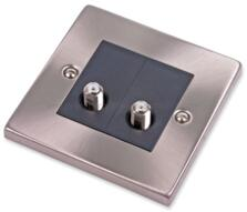 Satin Chrome Double Satellite Socket Outlet