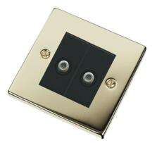 Polished Brass Double Satellite Socket Outlet