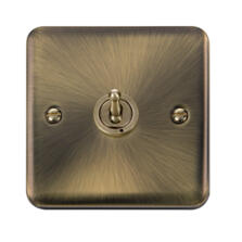 Curved Antique Brass Toggle Switch