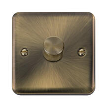 Curved Antique Brass Dimmer Light Switch