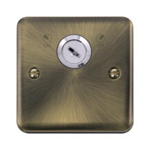 Curved Antique Brass Locking 20A DP Switch