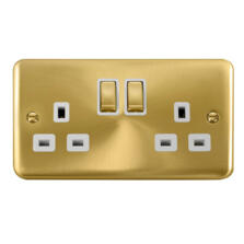 Curved Satin Brass Double Socket