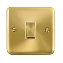 Curved Satin Brass Light Switch White Insert