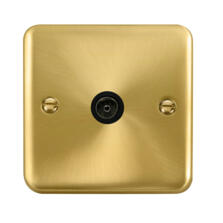 Curved Satin Brass TV Aerial Co-Ax / Satellite Socket