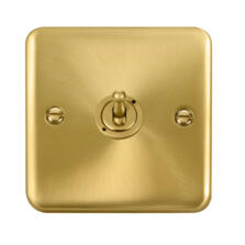 Curved Satin Brass Toggle Switch