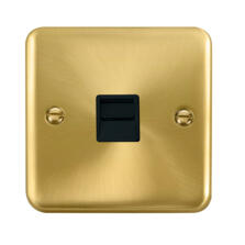 Curved Satin Brass Telephone Socket