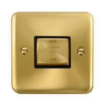 Curved Satin Brass Fan Isolator Switch
