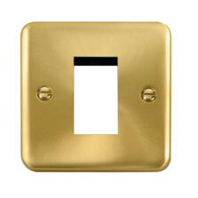 Curved Satin Brass Euro Data Module Outlet Plate