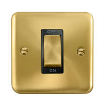 Curved Satin Brass Cooker / Shower Isolator Switch 45A