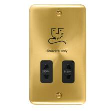 Curved Satin Brass Shaver Socket - Dual Voltage