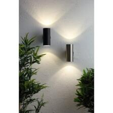 Black IP44 LED Up & Down Wall Light With Photocell - ZN-34555-BLK