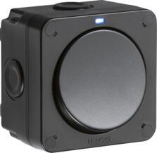Black IP66 Outdoor Weatherproof Single Light Switch - Blue Neon