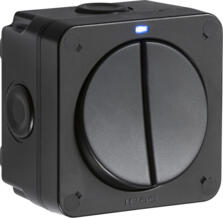 Black IP66 Outdoor Weatherproof Double Light Switch - Blue Neon