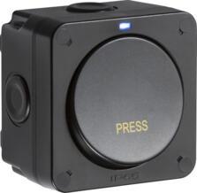 Black IP66 Outdoor Weatherproof Retractive Single Light Switch - Blue Neon
