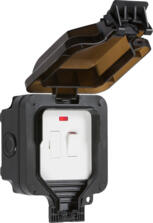 Black IP66 Outdoor Weatherproof Switched Fused Spur With Neon