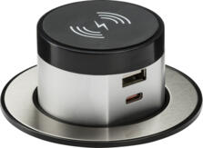 Wireless QI Desktop Charger with Pop Up Dual Charger