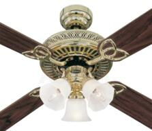"Westinghouse Monarch Trio Ceiling Fan with Light - 52"" Polished Brass"