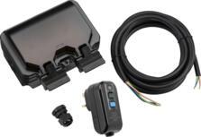 Black IP66 RCD Outdoor Double Socket Kit