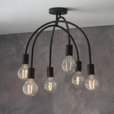 Matt Black 6 Light Semi Flush Ceiling Light