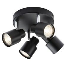 Matt Black 4 Light Round Spotlight Fitting