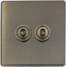 Screwless Antique Brass Toggle Switch