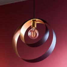 Matt Black & Satin Brass Loop Pendant - Fitting only