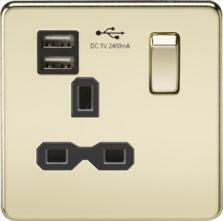 Screwless Polished Brass Single Switched Socket With USB Charger