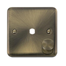 Curved Antique Brass Empty LED Dimmer Switch Plate