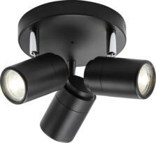 Matt Black GU10 Triple Spotlight IP44