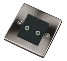 Pearl Nickel Double Satellite Socket Outlet