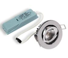 LED Fire-Rated Tilt Downlight 8w/10w - Chrome - 8w
