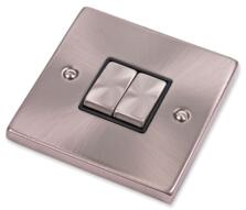 Satin Chrome Light Switch - Double 2 Gang Twin