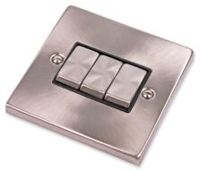 Satin Chrome Light Switch - Triple 3 Gang 2 Way